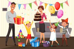 Family celebrating birthday at home illustration vector illustration