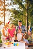 Family celebrating birthday outdoor royalty free stock photography