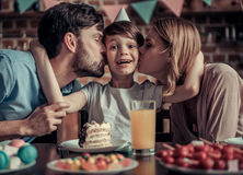 Family celebrating birthday Royalty Free Stock Image
