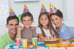 Family celebrating a birthday Stock Images