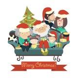 Family celebrating Christmas. Big family celebrating Christmas. Vector  illustration Royalty Free Stock Images
