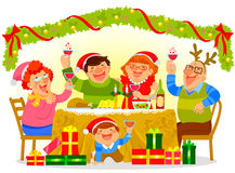 Family celebrating Christmas. Happy family having a Christmas dinner Stock Photography