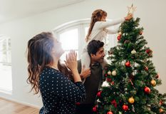 Family celebrating Christmas at home. Royalty Free Stock Photos