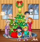 A family celebrating christmas Stock Illustration