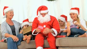 Family celebrating Christmas stock footage