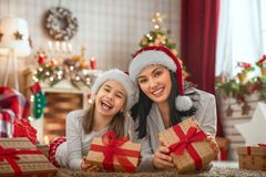 Family celebrating Christmas royalty free stock photos