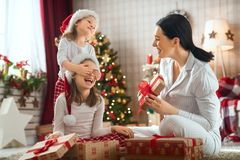 Family celebrating Christmas royalty free stock photography