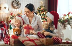 Family celebrating Christmas royalty free stock images