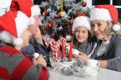 Family celebrating Christmas Royalty Free Stock Images