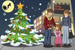 Family Celebrating Christmas. A vector illustration of family celebrating Christmas on a snowy day Royalty Free Stock Images