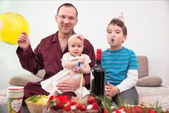 Free Family Celebrating Easter At Home Stock Photo - 180013890