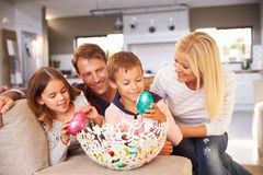 Family celebrating Easter at home Stock Image