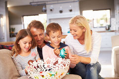 Family celebrating Easter at home Stock Images