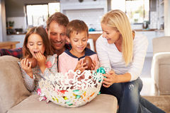Family celebrating Easter at home royalty free stock photos