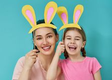 Family are celebrating Easter royalty free stock photography