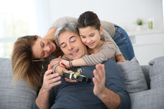 Family celebrating father's day Stock Image