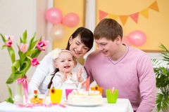 Family celebrating baby birthday Stock Image