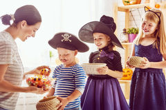 Family celebrating Halloween Stock Image