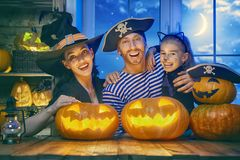 Family celebrating Halloween Stock Image