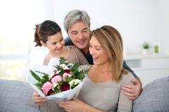 Family celebrating mother's day Stock Image