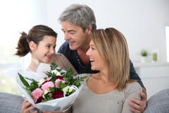 Family celebrating mother's day Royalty Free Stock Images