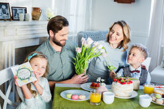 Family celebrating Mothers Day Stock Photo