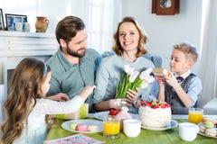 Family celebrating Mothers Day Stock Image