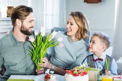 Family celebrating Mothers Day Stock Photos