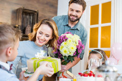Family celebrating Mothers Day Royalty Free Stock Images