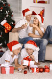 Family celebrating New Year Royalty Free Stock Photography