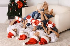 Family celebrating New Year Royalty Free Stock Photos
