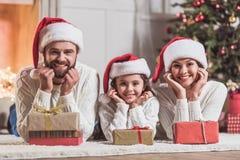 Family celebrating New Year Stock Images