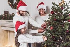 Family celebrating New Year royalty free stock photos