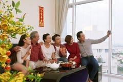 Family celebrating spring festival stock photo