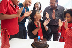 Family Celebrating 60th Birthday Together stock images