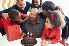 Family Celebrating 70th Birthday Together stock image