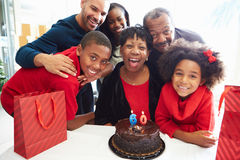 Family Celebrating 60th Birthday Together Royalty Free Stock Image
