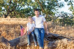 Family celebrating 4th of July royalty free stock photos