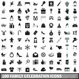 100 family celebration icons set, simple style. 100 family celebration icons set in simple style for any design vector illustration Stock Photography