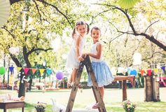 Family celebration or a garden party outside in the backyard. Family celebration outside in the backyard. Big garden party. Birthday party Royalty Free Stock Image