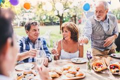 Family celebration or a garden party outside in the backyard. Family celebration outside in the backyard. Big garden party Stock Images