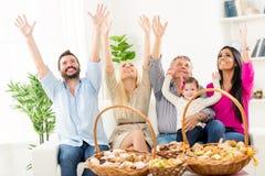 Family Celebration With Pastries Stock Photos