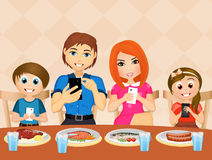 Family with cell phone at table. Illustration of family with cell phone at table Royalty Free Stock Photos