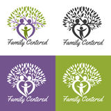 Family centered. Vector medical logo. Design for health-care organization, spinal surgery clinic, orthopaedic and spine center, therapist, massage cabinet. Brand Stock Photos