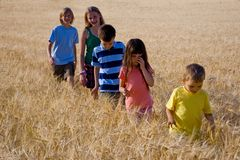 Family in cereal Royalty Free Stock Images