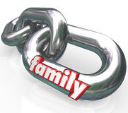 Family Chain Links Relationships Families Parenthood. The word Family on silver metal chain links to illustrate close relationships between related people such stock illustration