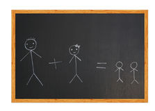 Family on chalkboard Stock Photo