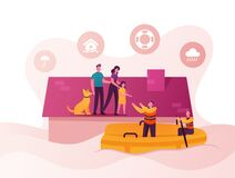 Free Family Characters Need Help At Flood. Man, Woman, Little Girl And Dog Stand House Roof, Rescues On Boat Evacuate People Royalty Free Stock Photo - 183337655