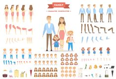 Family characters set. Parents and children with objects stock illustration