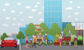 Family characters walking in the street vector flat illustration. Vector illustration of family characters walking together in the street. Elderly couple, father Royalty Free Stock Photography